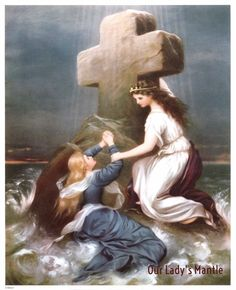 ROCK OF AGES Angel Saves Woman from Drowning 8x10 Religious Art Print Picture