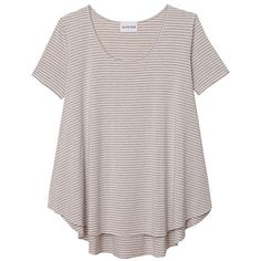 Olive + Oak Nicolette Stripe Tee ($42) ❤ liked on Polyvore featuring tops, t-shirts, shirts, sweaters, scoop neck t shirt, striped tee, short sleeve t shirt, scoop-neck tees and striped short sleeve shirt