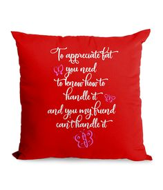 Appreciate Fat, Sassy Quotes Cushion with or without Insert - Red / Cover