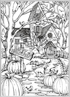 Autumn Scenes Coloring Pages For Adult