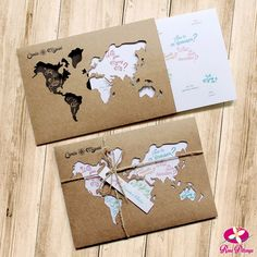 """Rosa Pittanga :: wedding invitationRustic wedding invitation in a kraft envelope with a world map theme and the famous request """"will you marry me? Perfect for travel-loving couples. Diy Birthday, Birthday Cards, Handmade Birthday Gifts, Diy And Crafts, Paper Crafts, Pen Pal Letters, Envelope Art, Envelope Design, Travel Themes"""