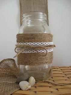 BURLAP LACE MASON Jars Summer Wedding Spring Wedding Decor Cottage Decor Bride Groom Rustic Farm House Shabby chic ocean Glass Decoration #EasyPin