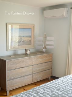 Beach House Whitewashed Dresser in Bedroom