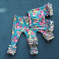 WY-084 floral print cotton icing baby leggings wholesale children's icing ruffle pants girls boutique sew sassy