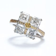 Daniel K. Asscher Champagne, Cognac, Yellow & White Diamond Ring