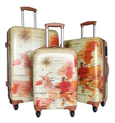 Luggage Set Hardside Rolling Spinner CarryOn Travel Case Poly Map in Travel, Luggage Luggage Sets, Travel Luggage, Old Suitcases, Unisex, Vacation Ideas, Ebay, Image Link, Amazon, Products
