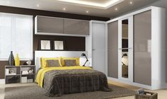 Modelos-guarda-roupas-quarto-pequeno-casal Bed Back, Dream Bedroom, Bedroom Loft, Master Bedroom, Bedroom Furniture, Bedroom Decor, Corner Wardrobe, How To Dress A Bed, Second Floor