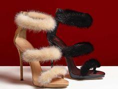 Stiletto Ayakkabı Modelleri Siyah ve Kahve Tay Tüylü