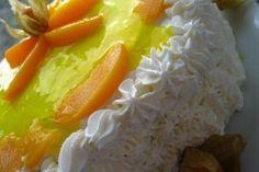 Tort cu piersici - Culinar.ro Sweet Desserts, Grains, Dairy, Vegetarian, Cheese, Food, Essen, Meals, Seeds