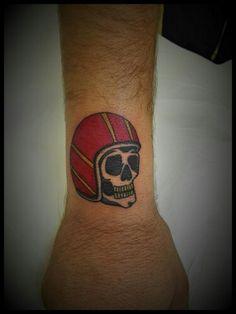 Skull motorbike tattoo