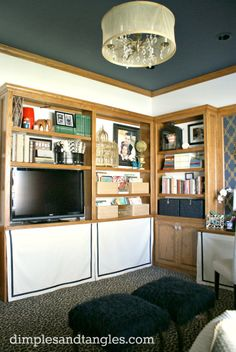 Dimples and Tangles: SKIRTED BOOK SHELVES  hidden storage