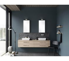 quality bathroom furniture in Danish design Mirror Cabinets, Vanity Units, Minimalist Interior, Danish Design, Bathroom Furniture, Bathroom Inspiration, Double Vanity, Basin, Bathrooms