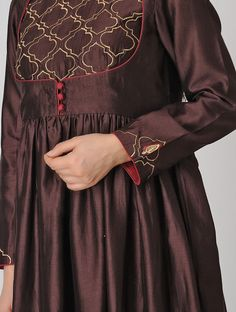 Buy Wine Embroidered Chanderi Anarkali Kurta Silk Women Kurtas A Celebration Exquisitely and palazzos for special occasion wardrobe Online at Jaypore.com Kurti Neck Designs, Dress Neck Designs, Kurti Designs Party Wear, Blouse Designs, Pakistani Dresses Casual, Indian Gowns Dresses, Dress Casual, Long Dresses, Indian Outfits