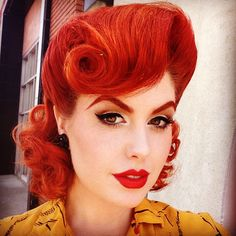 Retro glam ❤️ Pin Up Girl Hairstyles:: Vintage Hair and Makeup:: Retro Hair http://thepinuppodcast.com shares this images to support pin up and rockabilly artists, models and photographers.