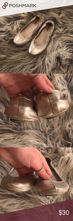 Prada Silver Flats These shoes have some wear and tear, but they are very comfortable and have a lot of life left in them. Some scuffing that is not at all noticeable when wearing. Size 39. Prada Shoes Flats & Loafers