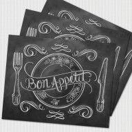 Book Of 25 Tear-Out Paper Placemats - Unique Hostess Gift - Wedding Placemats - Chalkboard Placemats - Bon Appetit - Hand Lettered Chalk Art Unique Placemats, Personalised Placemats, Lily And Val, Stationary Gifts, Wedding Paper, Gift Wedding, Free Wedding, Wedding Vows, Chic Wedding