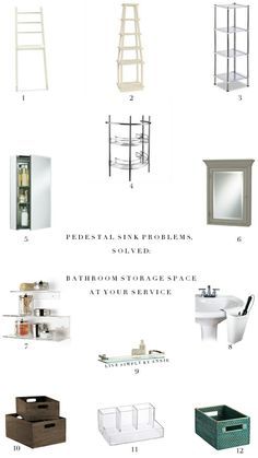 Pedestal Sink Problems, Solved: Bathroom Storage Alternatives // Live Simply by Annie Small Bathroom Storage, Storage Spaces, Small Bathrooms, Bathroom Organization, Pedestal Sink Storage, Mobile Shelving, Toilet Paper Storage, Pantry Storage, Bathroom Faucets