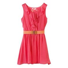 IZ Amy Byer Ruffle Lace-Back Belted Dress - Girls 7-16