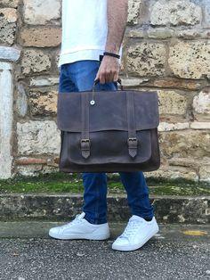Mens Leather Laptop Bag, Leather Briefcase, Leather Men, Brown Leather, Leather Bags, Laptop Briefcase, Messenger Bag Men, A 17, Bag Making