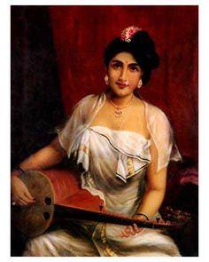 Raja Ravi Varmas Paintings: Malayali Girl Musician