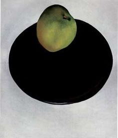 """georgia o'keeffe. """"green apple on black plate."""" it is the only one housed in the birmingham museum of art..."""