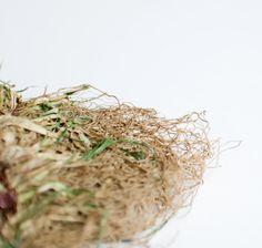 francesca mancini : giordano blu - organic grass brooch : sod lawn . amethyst . bronze . cotton