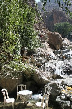 Spot of lunch in the atlas mountains anyone?? Random table & chairs! Entry from Sue, Marrakech