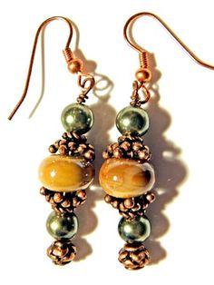 Handmade Copper, Brown Lampwork and green pearl Earrings