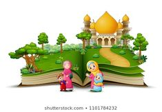 open book with a group of muslim people in the front islamic mosque Open Book, Portfolio, Mosque, Royalty Free Images, Bowser, Muslim, Stock Photos, Vector Background, Group