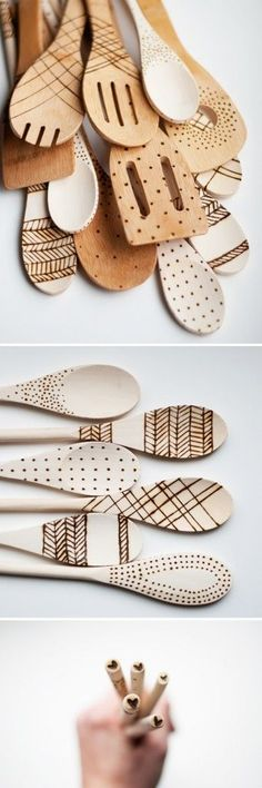 DIY: Etched Wooden Spoons...this could make for cool kitchen wall art