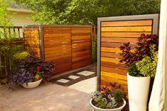 Five Modern Screens For Outdoor Garbage Bins - Hinterhof Pool Equipment Enclosure, Pool Equipment Cover, Hide Trash Cans, Outdoor Trash Cans, Trash Can Storage Outdoor, Trash Bins, Garbage Can Storage, Hidden Pool, Contemporary Patio