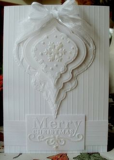christmas card, with ornament die cuts