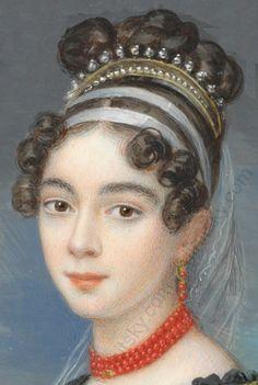 frühe 1820er Tagesfrisur Jane Austen, Roman Hairstyles, Vintage Hairstyles, Historical Hairstyles, Musical Hair, 19th Century Fashion, Hair Raising, Coral Jewelry, Empire Style