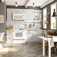 p/knoxhult-kitchen-gray-ikea - The world's most private search engine One Wall Kitchen, Mini Kitchen, Vintage Kitchen, Kitchen Decor, Small Basement Kitchen, Small Space Kitchen, Kitchen Cabinets Design, Grey Ikea Kitchen, Small Kitchen Lighting