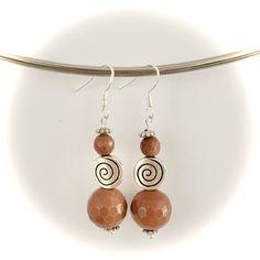 Handmade faceted goldstone swirl earrings made with sterling silver hooks Gemstone Earrings, Drop Earrings, Handmade Items, Handmade Gifts, Hooks, Gemstones, Sterling Silver, Trending Outfits, Unique Jewelry