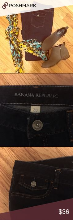 Banana Republic boot-cut jeans Dark wash with rear, flap pockets w/buttons and super-cute front coin pocket w/button detail. Worn once. Banana Republic Jeans Boot Cut