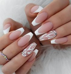 34 Luxury Coffin French Tip Nail Designs - french tip nails - French Tip Nail Designs, Acrylic Nail Designs, Nail Art Designs, Unique Nail Designs, French Tip Design, Prom Nails, Wedding Nails, Long Nails, Bridal Nails