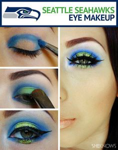Seattle Seahawks eye makeup --Easily changed to support any team! #SeaHawks #SuperBowl #Younique, #EyeLiner #LinerStaysPut #LoveItGuarantee #MUA #WAH #MineralPigments www.NotYourMamas3DLashes.com