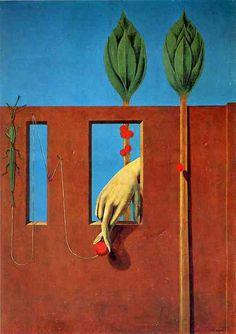 At the first clear word by Max Ernst, 1923. Oil on canvas. Kunstsammlung Nordrhein-Westfalen, Düsseldorf, Germany.