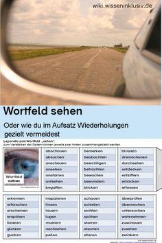 """Wörter für """"sehen"""" – Materialien Grundschule, wiki.wisseninklusiv.de, Aufsatz, Wiederholungen vermeiden, Wortfeld sehen, schreiben"""
