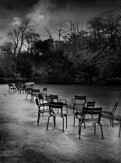 Jean-Michel Berts - Les Chaises du Luxembourg | From a unique collection of black and white photography at http://www.1stdibs.com/art/photography/black-white-photography/