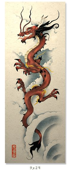 Chinese Dragon with interesting yet simple background detail