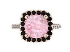 Halo Black Diamond Engagement Ring Morganite Engagement Ring Wedding Ring 14K Rose Gold with 8mm Round Peach Morganite Center Gems - V1090 by JewelryArtworkByVick on Etsy