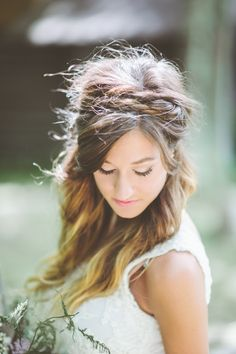 Boho Bride | Hairstyle | See the wedding on SMP: http://www.StyleMePretty.com/2014/03/05/rustic-woodland-wedding-at-juliane-james-place/  Paper Antler