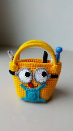 Minion Handmade crochet bag  Birthday gift by Solutions2511 / FINISHED PRODUCT for sale