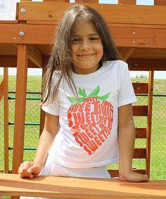 Look what I found on #zulily! White  White 'sweet' Strawberry  - Kids & Tween Tee #zulilyfinds