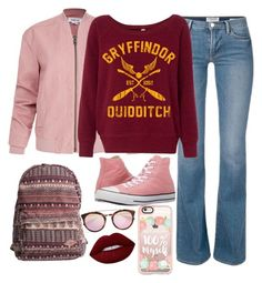 """""""Pink and bordeaux"""" by rossie-rz ❤ liked on Polyvore featuring Helmut Lang, Converse, Billabong, Casetify, Prada and Lime Crime"""