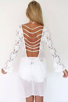 0afd0f6177663 Aliexpress.com   Buy B84 CelebStyle Women Floral Lace Crochet Flare Sleeve  Chiffon Blouse Shirt Backless Hollow Out Female Long Tops Blusas 2015 New  from ...