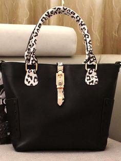 Bag | Tote Black with Leopard detailing