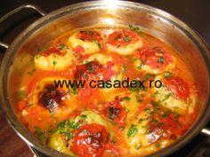 ardei umpluti cu orez si ciuperci, de post Romanian Food, Romanian Recipes, Daniel Fast, Vegetarian Recipes, Avocado, Curry, Food And Drink, Low Carb, Yummy Food